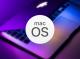 Logo de MacOS avec fond d'un MacBook Pro