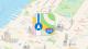 Ilustration du logo d'Apple Maps/Apple Plans sur fond de carte de New York